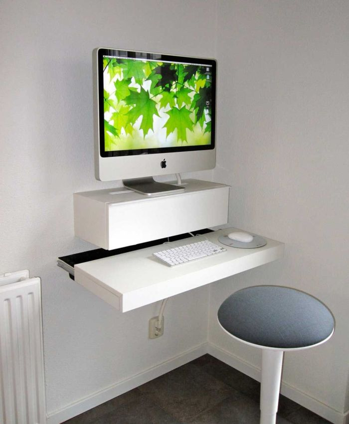Ultra Modern Computer Desk with Wall Mounted Style
