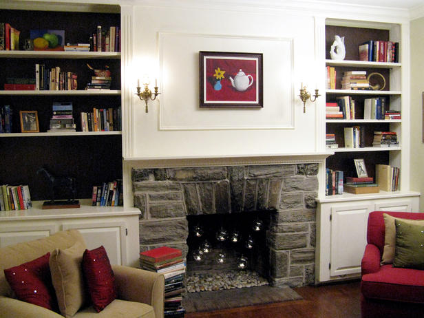 Half Day Design Fireplace with Bookshelf