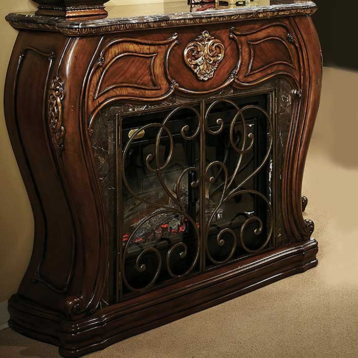 8-Caravelle Warm Walnut Victorian Style Fireplace