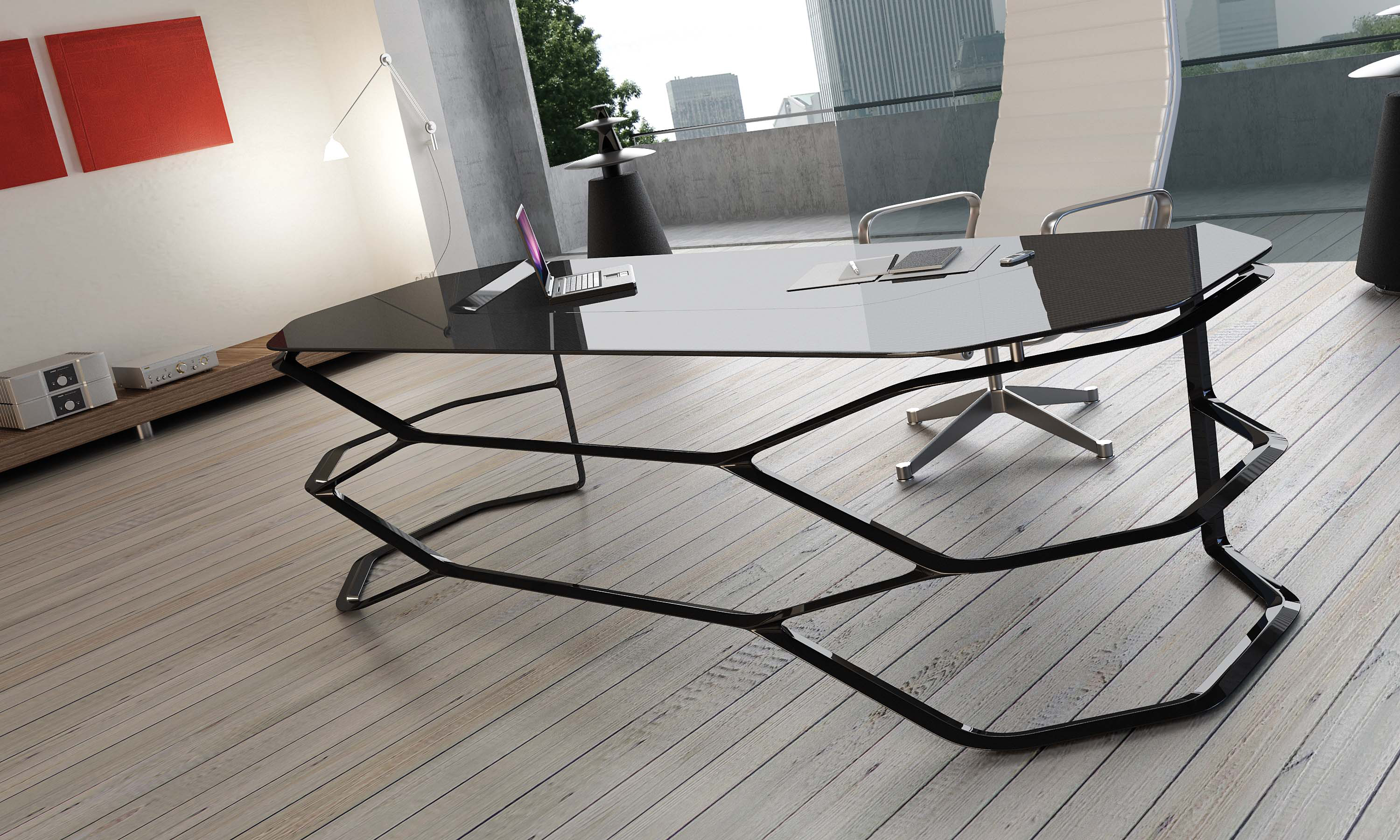 Hexagonal Base Stylish Desk