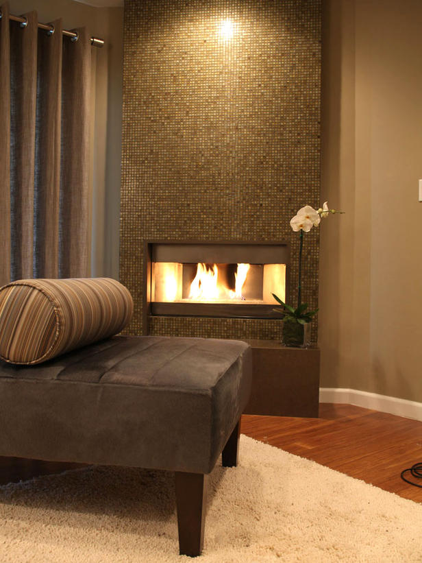 Monochromatic Brown Color Fireplace