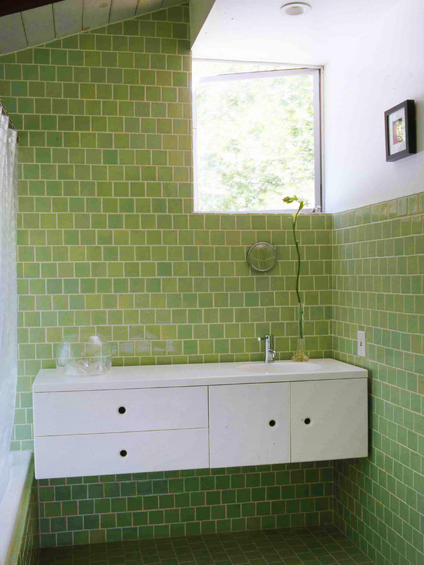 green tiles in bathroom