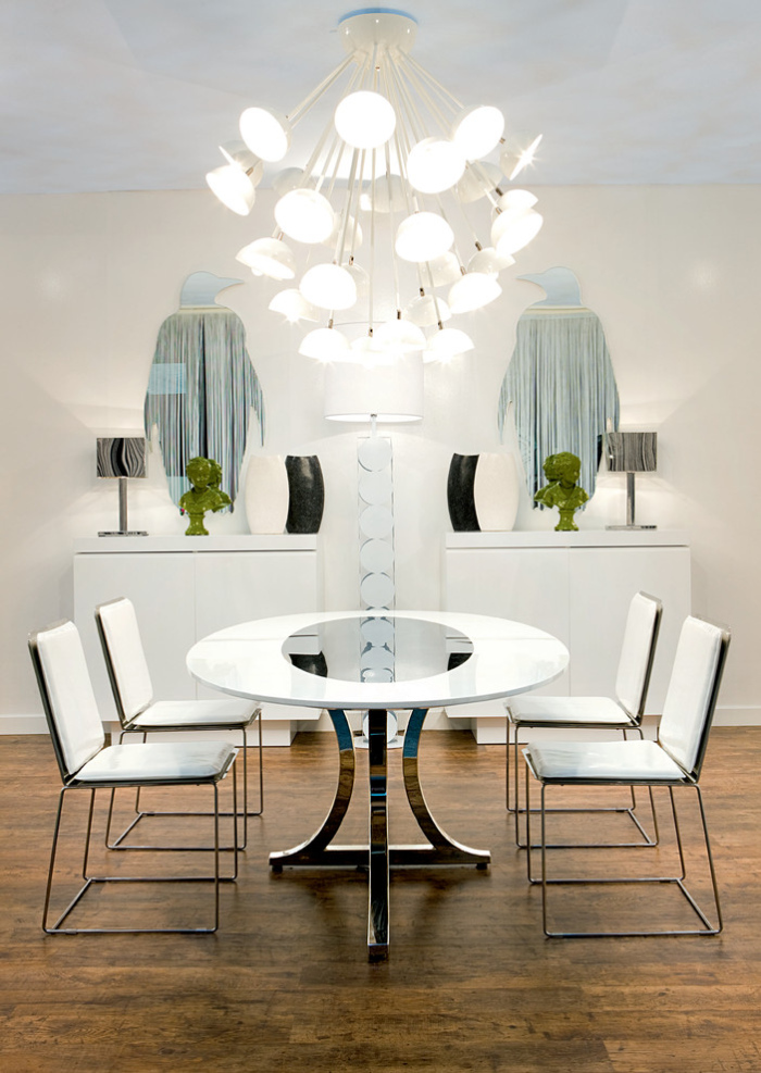 Contemporary-Dining-Room With penguin art decor