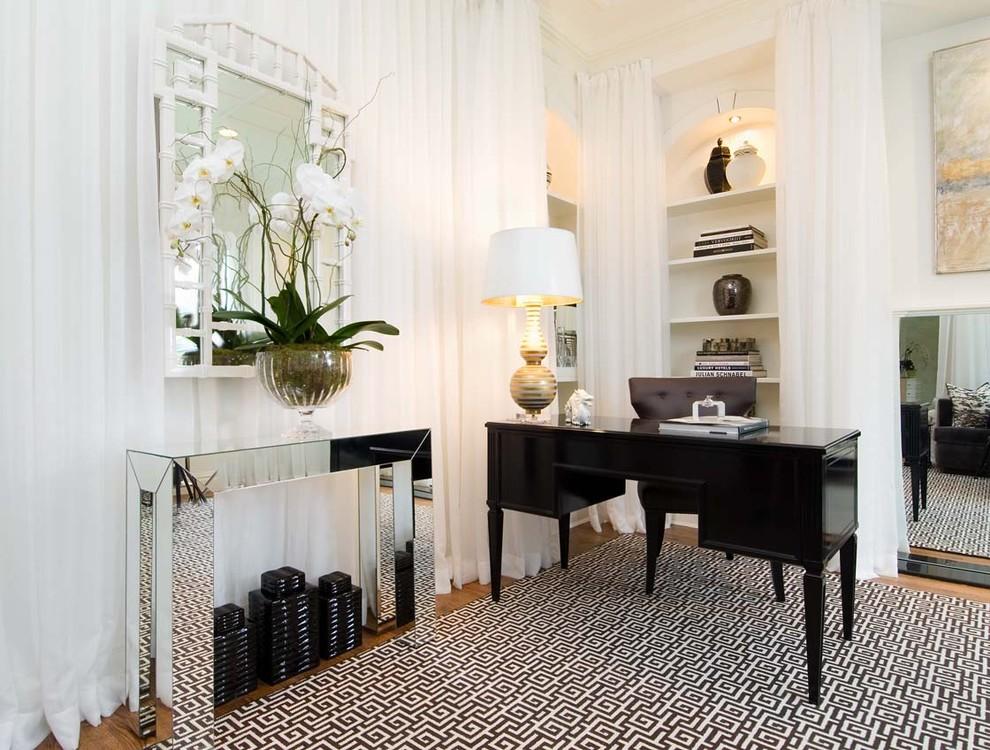... mirrored glass console table. Black, white, silver art deco look