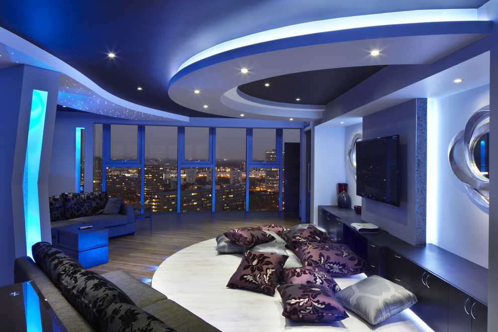 10 decorative living room with ceiling molding ideas for Modern theater room