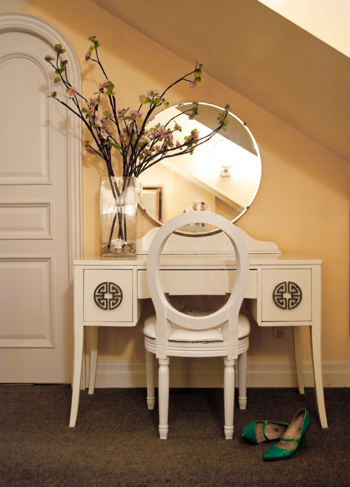 Eclectic-Bedroom With Elegant deco white lacquered dressing table