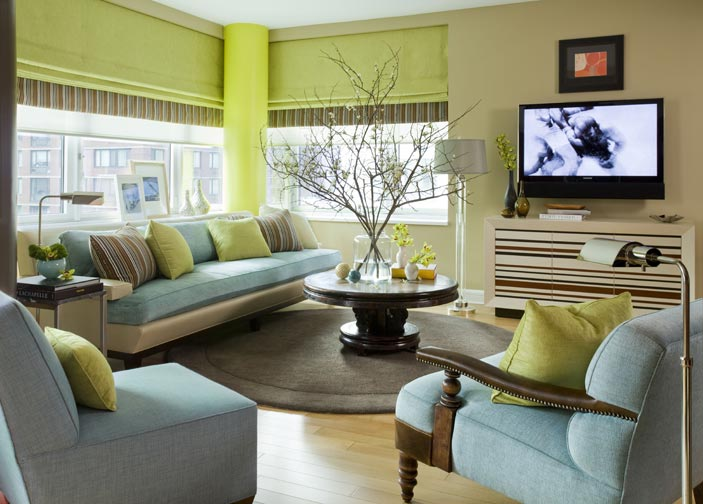 green grey and blue livingroom