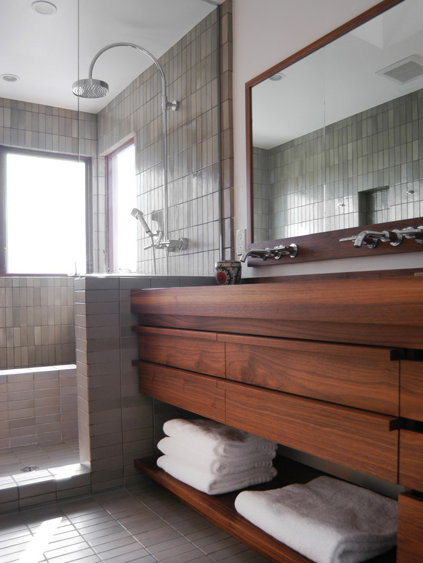 clay tiles in bathroom