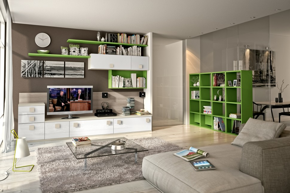 green living room with tv unit and bookshelves
