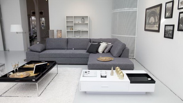 minimalist living room with an l-shaped sofa