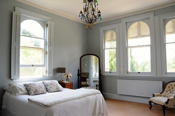 master bedroom with wondows