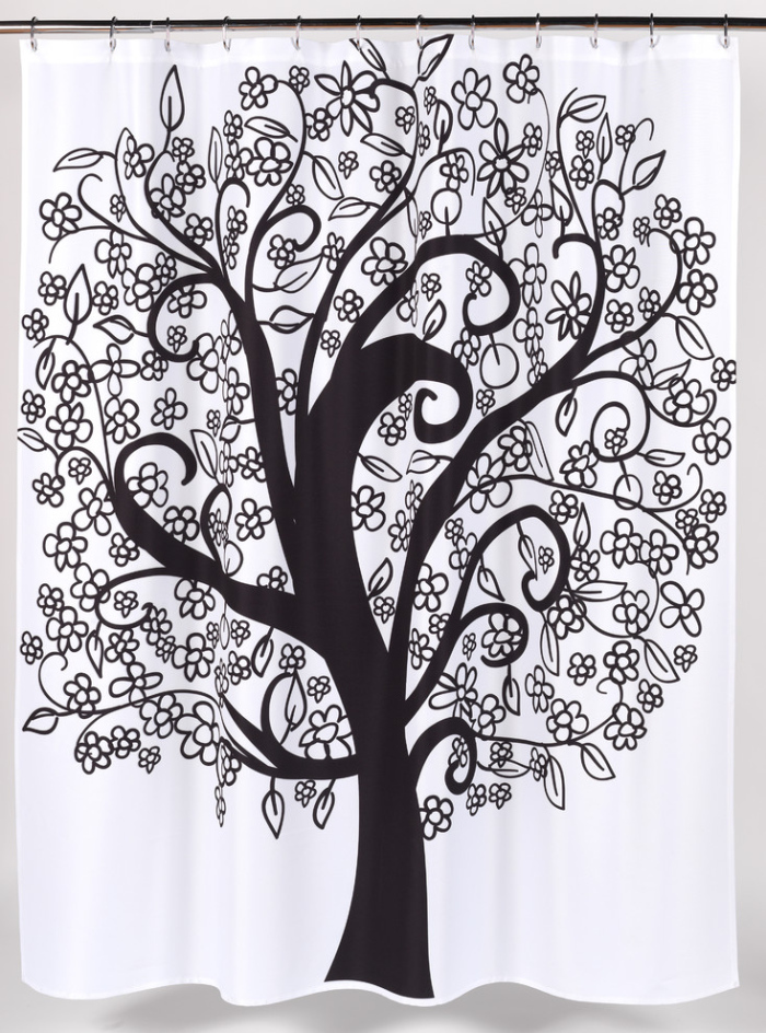 White And Black Eclectic-Shower-Curtain With A Tree drawing - Copy