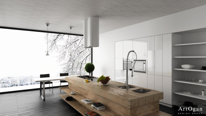 white and black kitchen with islamd