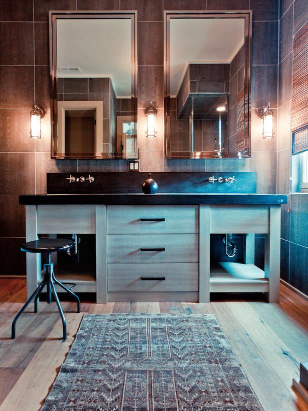 brown tiles in bathroom