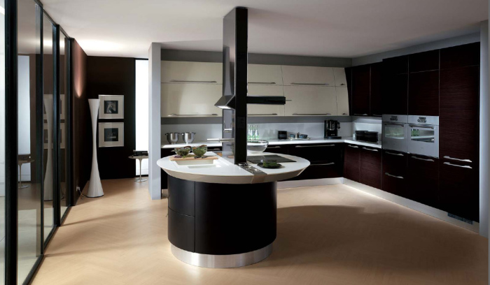 black and white kitchen with island