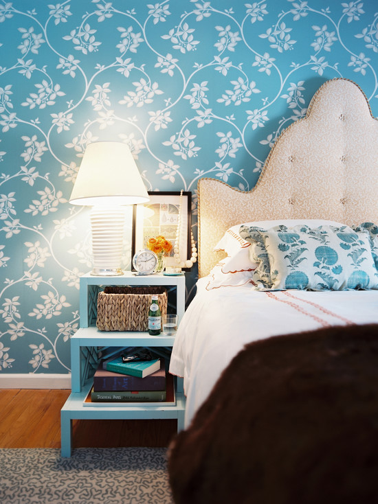 bedroom with blue flora wallpaper