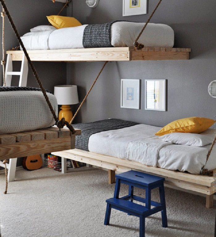 two floating bunk beds