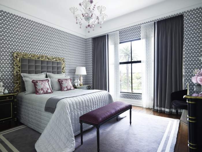 modern gray and purple bedroom