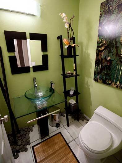 Green pastel colored Bathroom