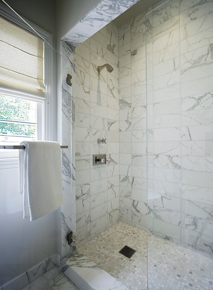 design with marble tiles showers