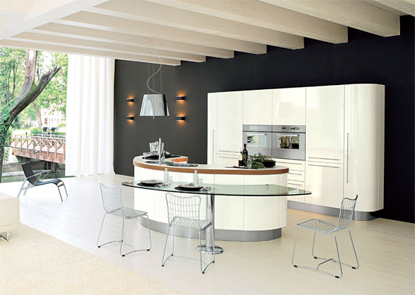 round shaped modern kitchen