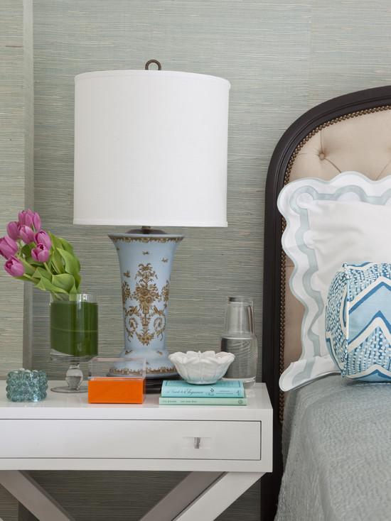 bedisde table and lamp shade
