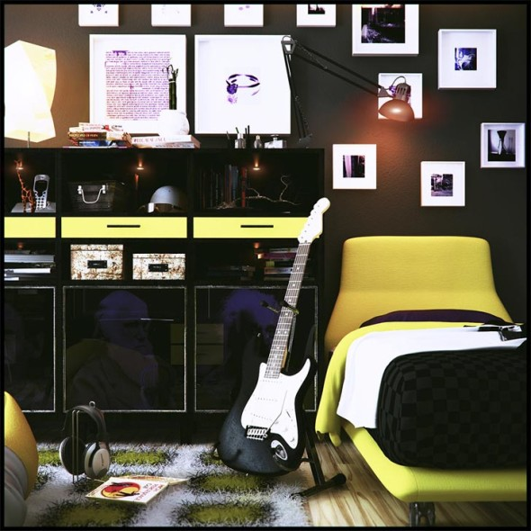 teen room with music theme