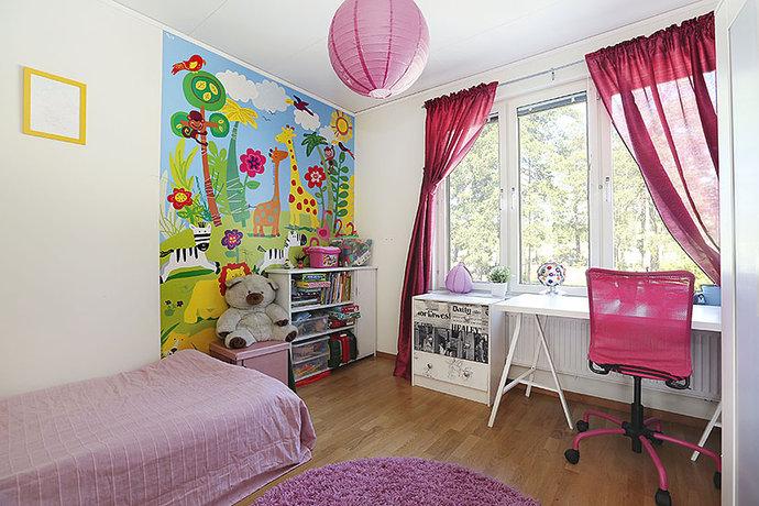 teen bedroom with study desk near big window
