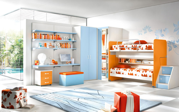 colourful bunk bed with storage