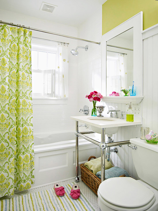 white and yellow tiny bathroom