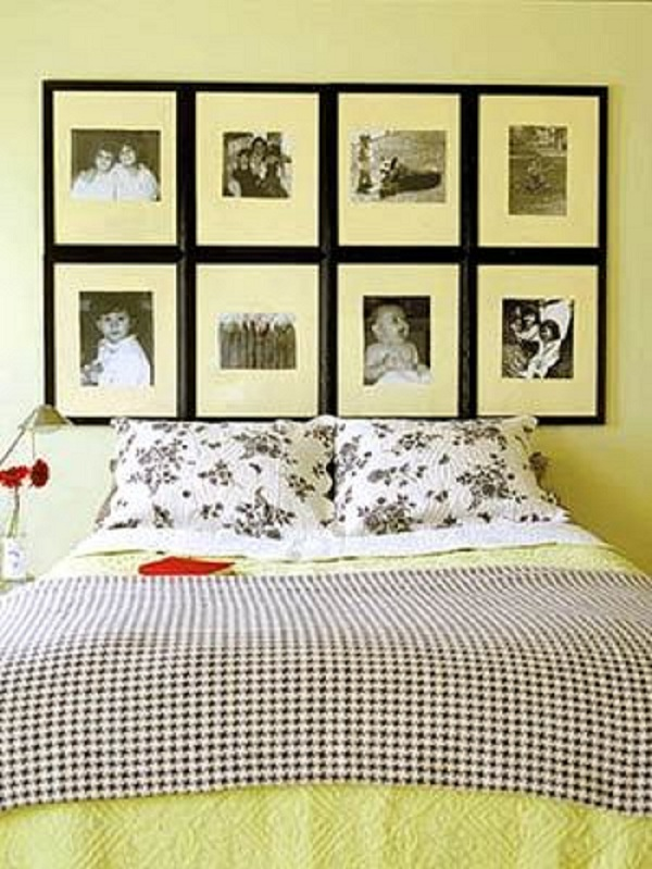 yellow bedroom with picture headoard