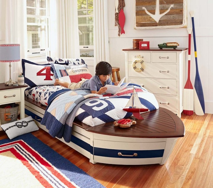 White,Blue And Red Boy Kid's Bedroom