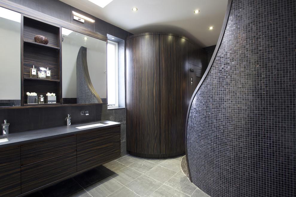 minimalist bathroom with black furniture