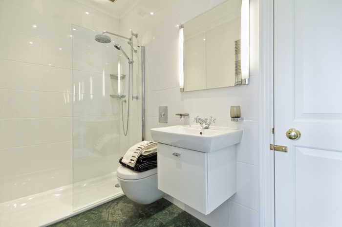 modern shower room in white