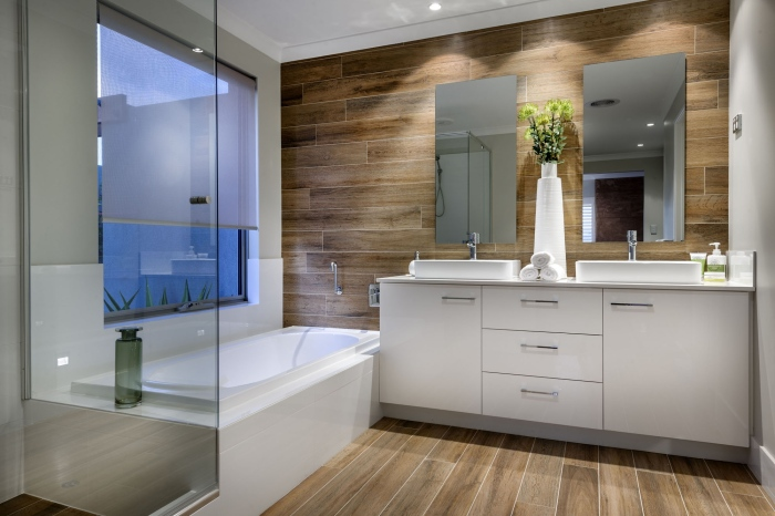 White-and-wooden brown-modern-bath-room