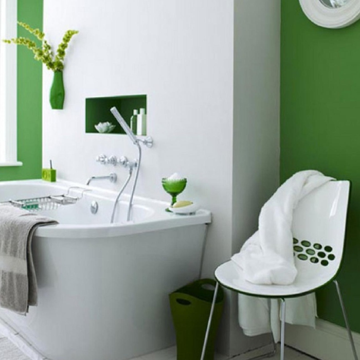 Green Fresh Modern Bathroom Interior