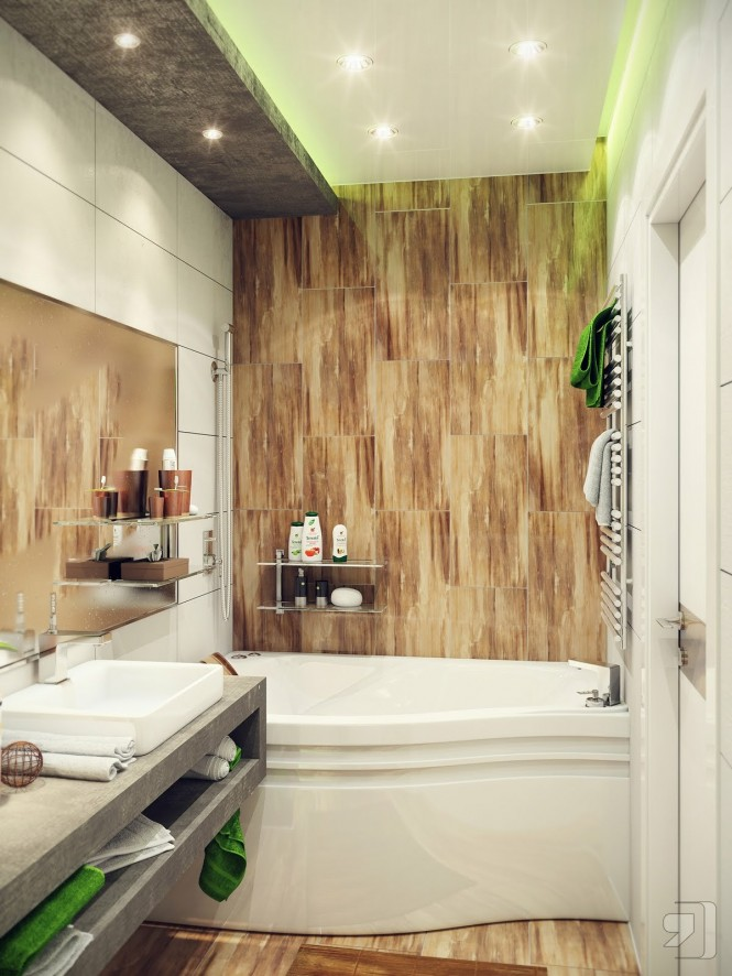 Green And White Wood Bathroom