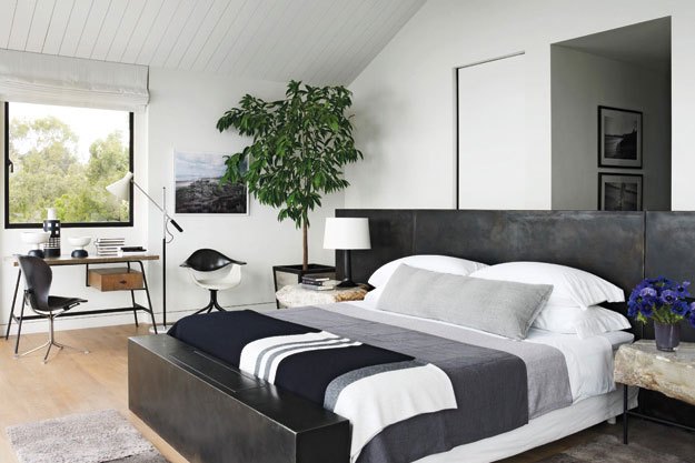 Modern Bedroom with White Grey and Black Color Design