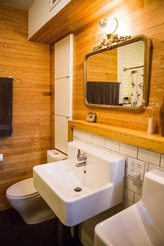 Brown Colored Wood Panel Bathroom