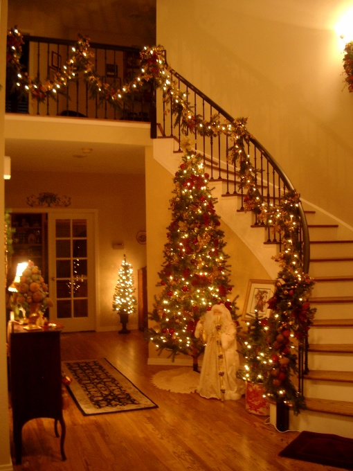 brightly lighted christmas tree