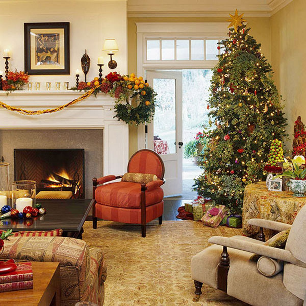 christmas living room decorating ideas welcoming country christmas