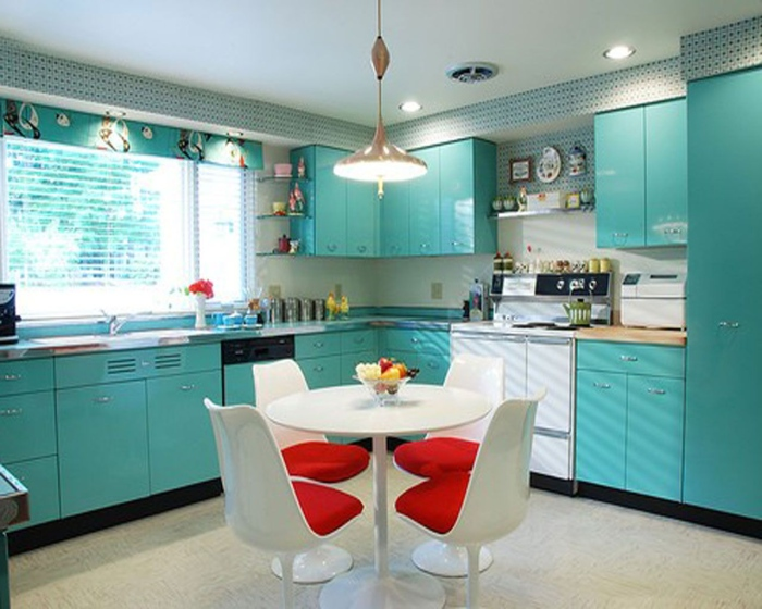 kitchen L Shaped Design with Turquoise Cabinets