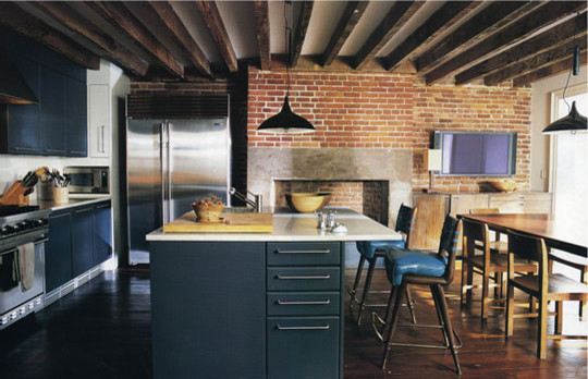 Blue Colored Kitchen Island