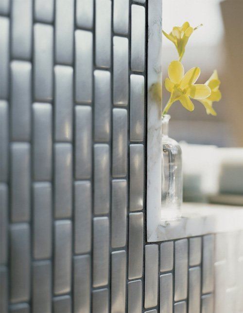 Transparent Glass Silver Colored Subway Tile