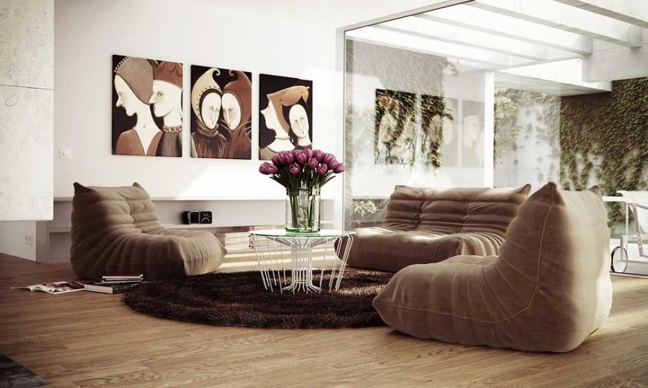 Plump Brown Sofa