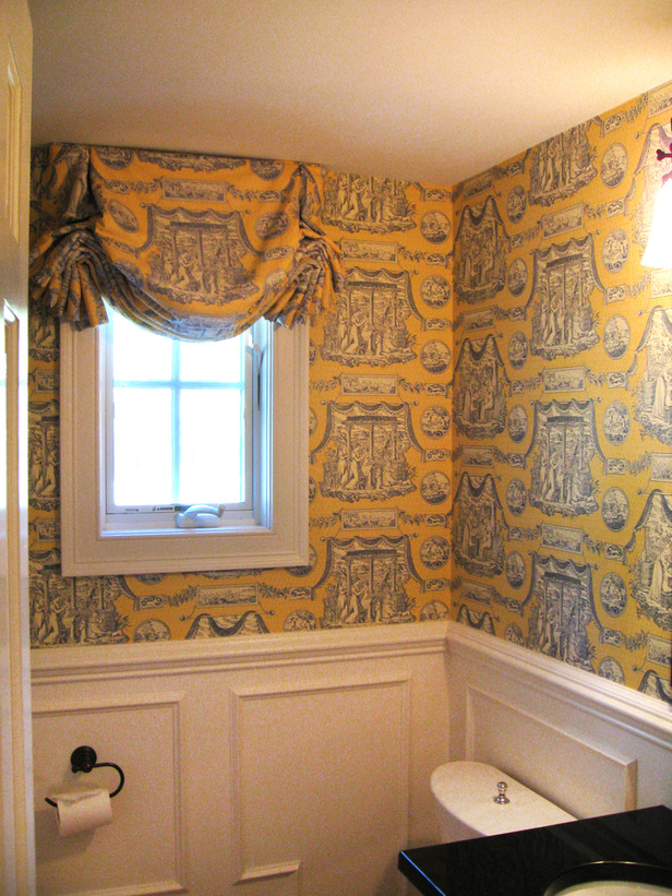 Original Wallpaper Powder Room Yellow