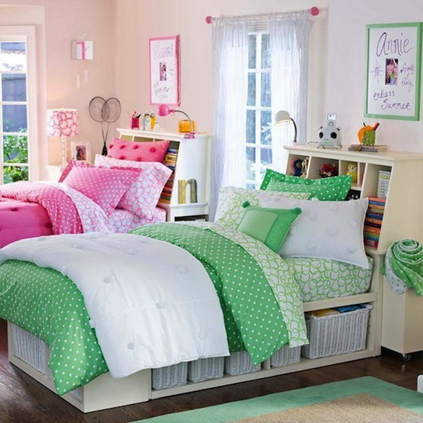 This shared bedroom is a wonderful design for teen girls. The use of ...