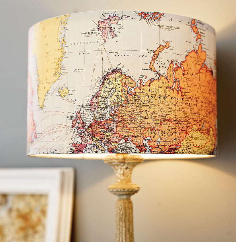 Yellow Colored Map Lampshade