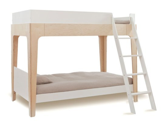 White and Beige Colored Bunk Bed