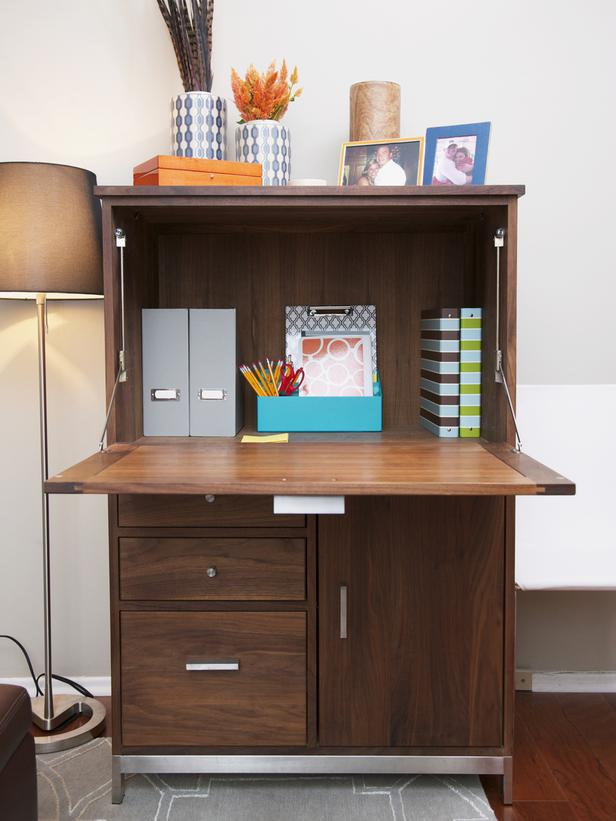 Ample Storage Wood Cabinet Desk